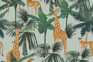 Tropical seamless pattern with palm trees, giraffes and leopards. Summer jungle background. Vintage vector illustration. Rainforest landscape