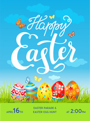 Easter poster, easter eggs, easter holiday card