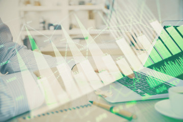 Photo sur Aluminium Pharmacie Multi exposure of stock market chart with man working on computer on background. Concept of financial analysis.