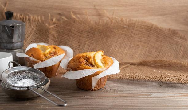 Homemade dessert apple muffin  with cinnamon.