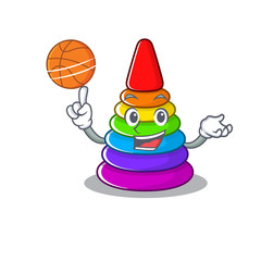 A mascot picture of toy pyramid cartoon character playing basketball