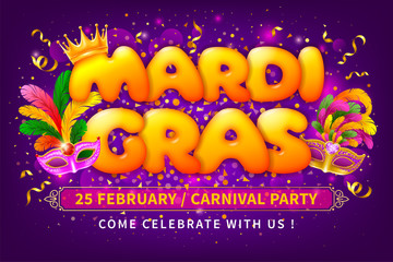 Advertising Banner Template For Mardi Gras Carnival