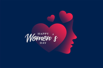 happy womens day hearts and face background