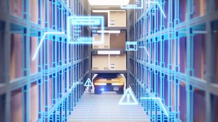 Obraz Warehouse autonomic robots carry goods industry - fototapety do salonu