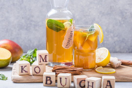 Healthy tea kombucha with lemon and cinnamon.