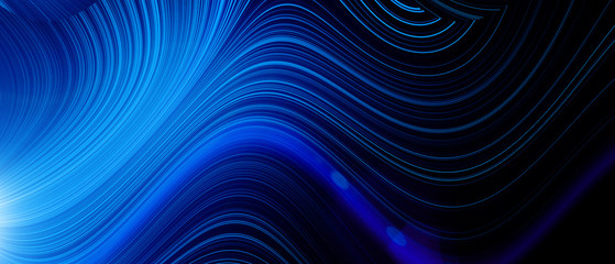 Bright blue neon glowing flux effect abstract wave pattern. Dynamic motion Fototapete