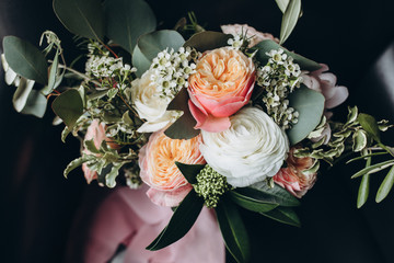 wedding bouquet of pink peonies, white roses and greenery with pink ribbon Fotobehang