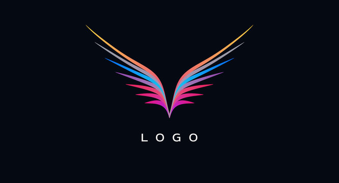 Abstract logo design element, colour lines forming wings of a bird symbol icon