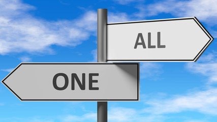 One and all as a choice - pictured as words One, all on road signs to show that when a person makes decision he can choose either One or all as an option, 3d illustration