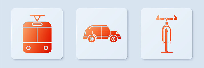Set Hatchback car, Tram and railway and Bicycle. White square button. Vector