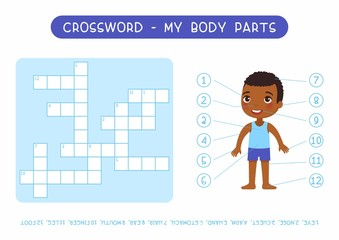 My body parts crossword flat vector template. Learning human anatomy kids puzzle; cute worksheet; educational game with little girl cartoon character. English cross word with external organs names
