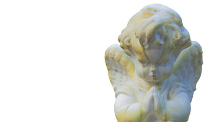 Fototapete - Antique statue of little cute angel isolated on white background.