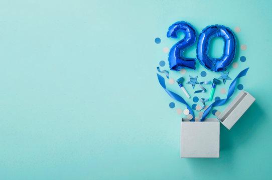 Number 20 birthday balloon celebration gift box lay flat explosion