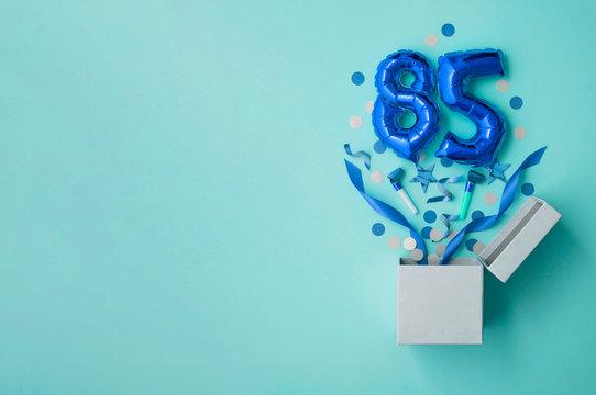 Number 85 birthday balloon celebration gift box lay flat explosion