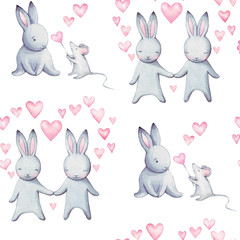 Cute illustration for greeting card or any design for Valentine's. Beautiful  watercolor illustration of bunny in love, seamless pattern. Beloved sweet couple. Greeting card for wedding. Love you.