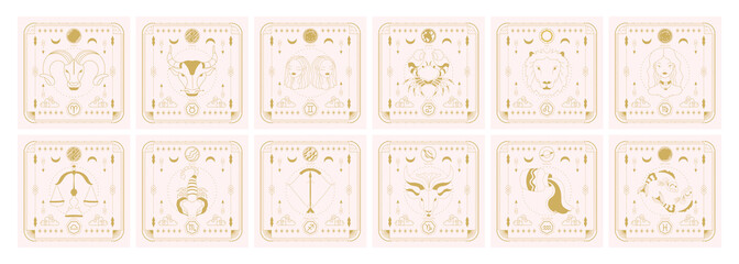 Set of zodiac signs icons. Astrology horoscope with signs and planets.
