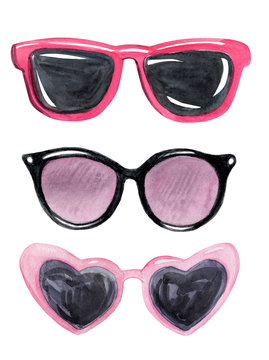 watercolor pink sunglasses set isolated on white background. Summer collection. Heart shaped glasses