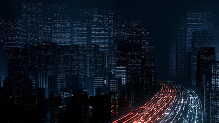 Wall Mural - 3D Rendering of abstract highway path through digital binary towers in city. Concept of big data, machine learning, artificial intelligence, hyper loop, virtual reality, high speed network.