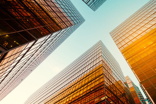 office buildings and blue sky in business district