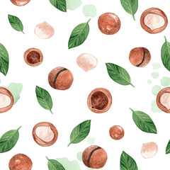 watercolor hand drawn macadamia nuts and green leaves seamless pattern on white background. can be used in fabric, textile,wrapping paper,scrapbooking