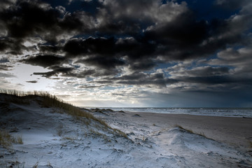 Wall Mural - Baltic sea coast in winter day.