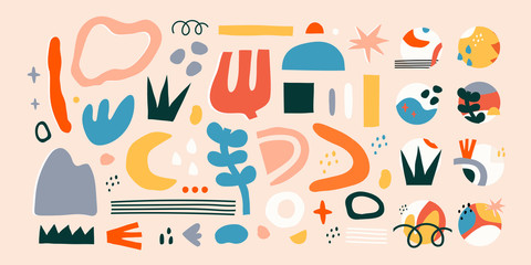 Wall Mural - Big set of Hand drawn various colorful shapes and doodle objects. Abstract contemporary modern trendy vector illustration. All elements are isolated