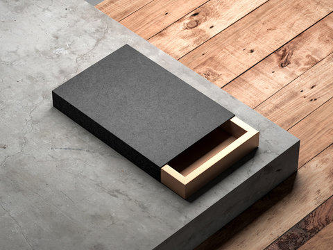 Black with gold sliding box Mockup on concrete stair