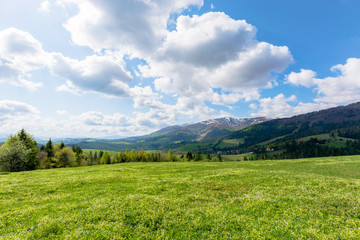 mountainous countryside landscape in spring. grassy meadow on top of a hill. mountain ridge with snow capped tops in the distance. sunny weather with clouds on the blue sky Fotobehang