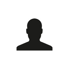 Silhouette of man icon. Unknown male person. Vector. Flat design.