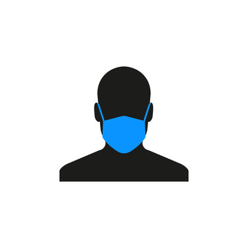 Man with medical mask icon. Man with protective mask sign. Vector. Flat design.
