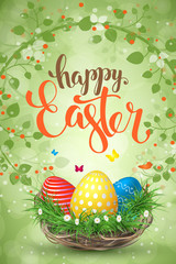 Happy Easter background with realistic Easter eggs. Easter card. vertical.