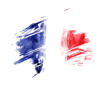 Abstract grunge flag of France