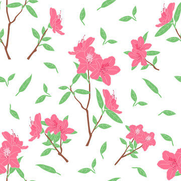 Beautiful pink azalea flowers or rhododendron seamless pattern background with branches and leaves. Doodle springtime floral pattern background. Great for wallpaper, textile, fabric, card, packaging.
