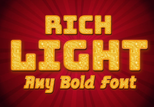 Rich Bright Light Text Style Mockup