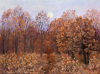 Footpath in autumn forest. Rural landscape with moon on evening. Lot of fallen leaves. Hand drawn. Original oil painting on canvas.