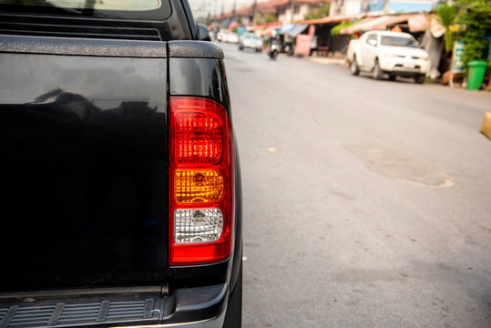 Rear light of the back of a pickup truck, black