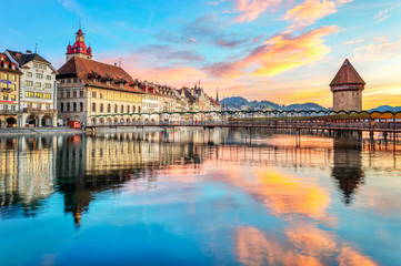 Chapel bridge and Old town of Lucerne, Switzerland
