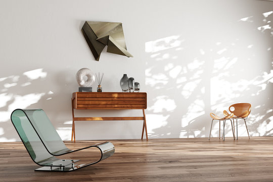 White minimalistic interior with wooden floor and mid century Scandinavian furniture 3d render