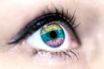 Flag of lithuania reflects in a woman blue eye - election, sport, hope, young, generation, pride, dream, emotion, independance