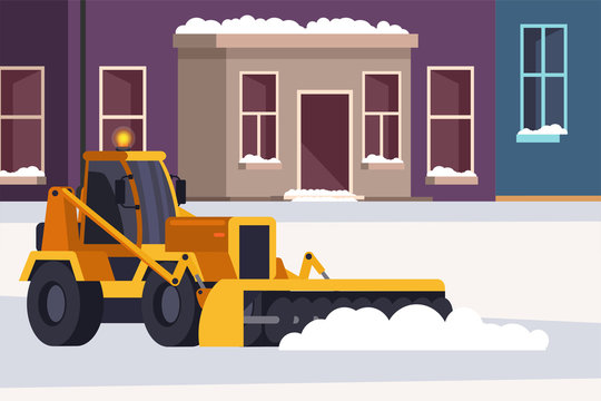 Snow removal street and road process in winter
