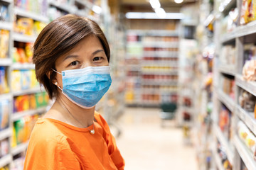 Asian women with face mask for protection against influenza virus shopping
