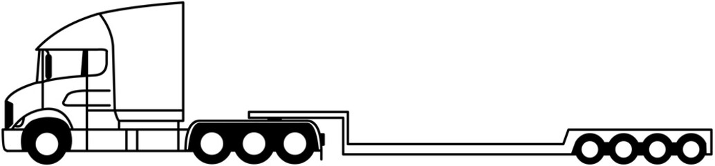 Heavy duty tractor - Truck for heavy loads with semi trailer - monochrome - 8x4 - shape - silhouette - american truck - profile