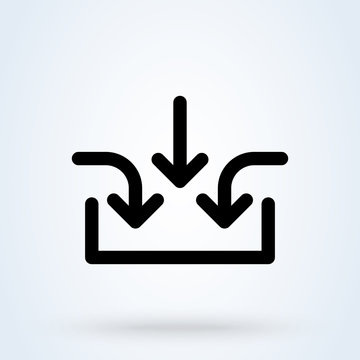Business multiple inputs icon. Aggregate inputs symbol. Business process illustration.