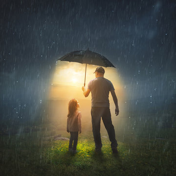 Father and Daughter in the Rain