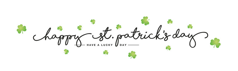 Happy St Patrick's Day handwritten typography lettering line design green clovers white background banner