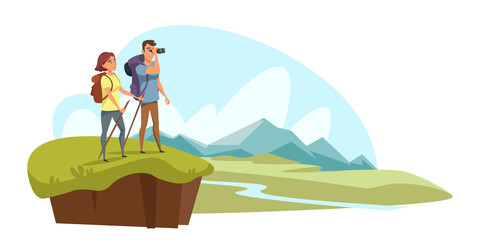 Camping, hiking flat vector illustration