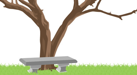 Dry tree and the bench on transparent background