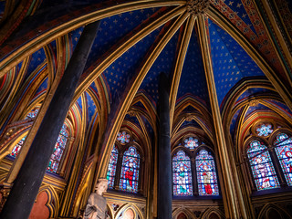 "Sainte Chapelle Interior Decor  or ""Holy Chapel"", in the courtyard of the royal palace on the Île de la Cité, was built to house Louis IX's collection of relics of Christ"