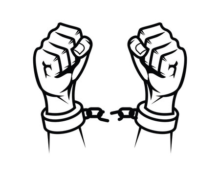 Broken Handcuff as Symbol of Freedom with Silhouette Style