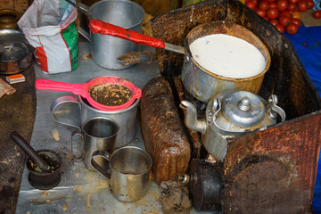 Indian tea Masala chai stall on the street. Kolkata. India
